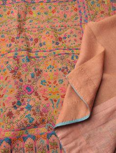 Hand Embroidered Border Palledar Fine Wool Shawl