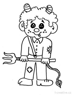 čertík omalovánka All Things Christmas, Christmas Crafts, Coloring Books, Coloring Pages, Black Art Tattoo, Preschool Lesson Plans, Paper Crafts For Kids, Winter Time, Animals And Pets