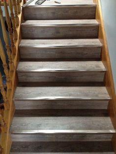 Direct Floor Coverings   Rustic Grey 5mm Waterproof Vinyl Planks Clic Lock  On Stairs   Direct
