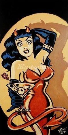 Vince Ray. Devil woman, devilette, martini, eyeball, black gloves, horns, red dress, tail, devils tail, pearls, pinup art, Bettie bangs