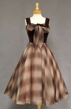 Chocolate Velveteen & Plaid Organdy 1950's Cocktail Dress