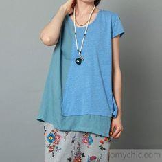 Blue layered women summer shirt short sleeve blouse cotton top