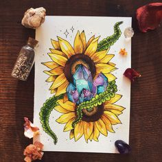 luna-patchouli:  Sunflower tattoo commission for native-traveler ♥︎ (contact me to commission a design! :))
