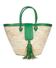 Sacola verde da borla da guarnição verde de Raffia