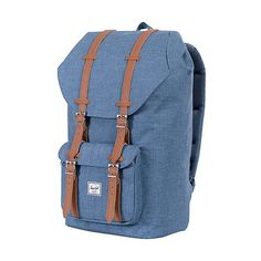 Herschel Supply Co. Little America Laptop Backpack ($100) ❤ liked on Polyvore featuring bags, backpacks, blue, laptop backpacks, padded backpack, blue laptop bag, backpacks bags, padded bag and strap backpack