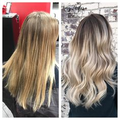Platinum neutral cool blonde transformation balayage ombre smudge root by@askforamy