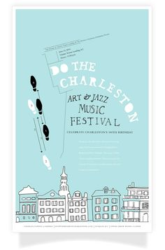 A jazz and music celebration poster hosted by The Friends of Charles Towne Landing and the Historic Charleston Foundation for Charleston's 340th birthday. Graphic Design Two, Maryland Institute College of Art, Instructor Brockett Horne