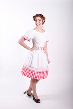 50s Vintage Dress Red White Gingham Rockabilly 1950s Vintage Dress Size Petite xs