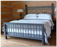 Iron king size bed frame - An iron bed sheet adds some elegance and timelessness to a bedroom. King Size Bed Headboard, King Size Bed Frame, Bed Frame And Headboard, Bedding Master Bedroom, Headboards For Beds, Master Bedrooms, Headboard Ideas, Steel Bed Design, Unique Bed Frames
