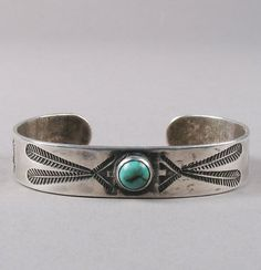 silver bracelet with turquoise cabochon c 1930
