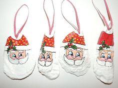 2013 Silly Santa Hand Painted Oyster Shell Christmas Ornament from Hilton Head Island, South Carolina