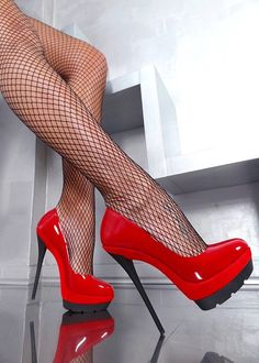 fishnets, red high heels