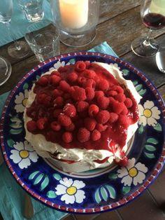 Raspberry Praline Meringue Cake