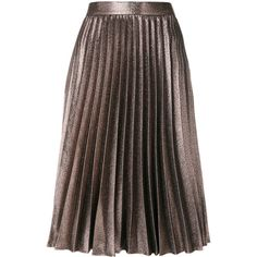 Roberto Collina pleated skirt (819.930 COP) ❤ liked on Polyvore featuring skirts, knee length pleated skirt, brown skirt, pleated skirt, metallic pleated skirts and metallic skirt