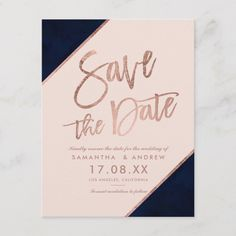Rose gold glitter script navy blue save the date Announcement Postcard Rose Wedding, Diy Wedding, Trendy Wedding, Dream Wedding, Pink Save The Dates, Wedding Typography, Unique Roses, Blush Wedding Invitations, Fall Wedding Decorations