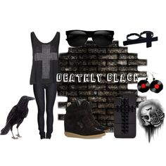 """""""Deathly Black"""" by katerness on Polyvore"""
