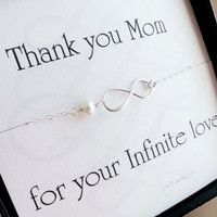 Mother of the groom or mother of bride card with silver infinity necklace, pearl necklace, mother in law gift, boxed gift set for mom