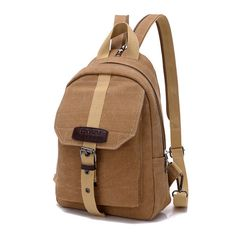 Men Women Casual Canvas Backpack Outdoor Travel Crossbody Bag Chest Bag - US$26.79