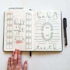 Baby Journal, Memory Journal, Pregnancy Journal, Bullet Journal Tracker, Bullet Journal Layout, Bullet Journal Ideas Pages, Bullet Journal Inspiration, Diy Bebe, Foto Baby