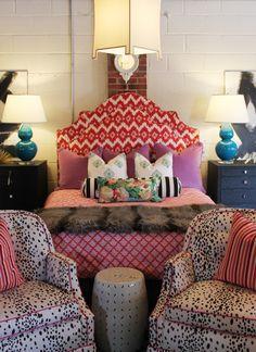 ikat upholstered headboard, furbish studio, jamie meares, pattern mixing