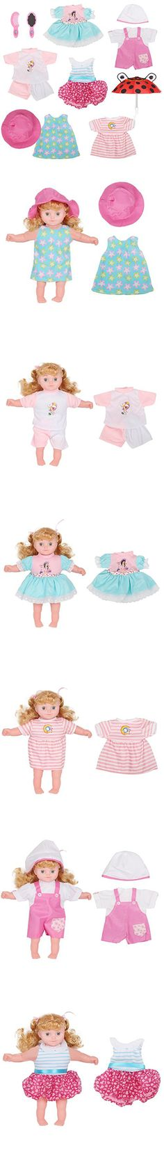 Set of 6 Baby Doll Clothes Dress Outfits Costumes For 14-16 Inch Dolly Beautiful Darbie Doll Cloth Accessories Umbrella Comb Mirror Hat Girl Christmas Birthday Gift