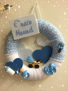 Your place to buy and sell all things handmade - Her Crochet Baby Shower Crafts, Baby Shower Parties, Baby Boy Shower, Baby Shawer, Baby Co, Ikea Baby, Welcome Home Baby, Baby Door Hangers, Felt Garland