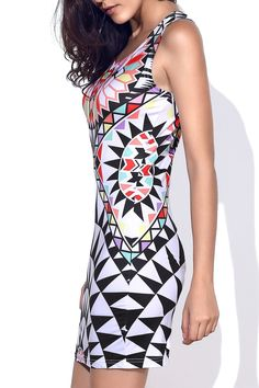 Geometric Pattern Sleeveless Stylish Round Neck #Bodycon #Dress for #Women | #AliUSAExpress