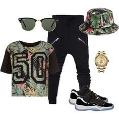 Cute bucket hat that matches the shirt low top Jordan's (concords) gold watch black sunglasses