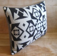 Wool Pillow Native Black White Geometric Tribal by RobinCottage