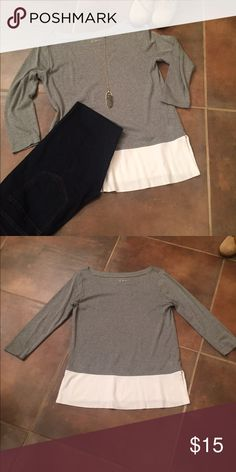 Loft Tee Colorblock Loft Tee with 3/4 sleeves. Excellent condition. Non smoking home. LOFT Tops Tees - Long Sleeve
