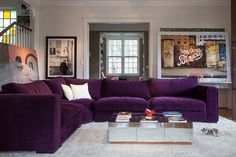 Decor, Simple Living Room Decor, Home Room Design, Colourful Living Room, Purple Living Room, Simple Bedroom, Couches Living Room, Living Decor, Living Room Sectional