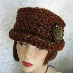 Womens Crochet Hat Pattern With Brim And Large Trim Piece Crochet Hat With Brim, Crochet Hat For Women, Baby Girl Crochet, Crochet Beanie, Knitted Hats, Knit Crochet, Crochet Hats, Irish Crochet, Loom Hats