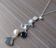 SALE Subtle and Pretty Multi Gemstone, Fresh Water Pearl and Sterling Silver Disc Necklace by Yameyu, $50.00 http://www.etsy.com/listing/87178663/sale-multi-gemstone-fresh-water-pearl
