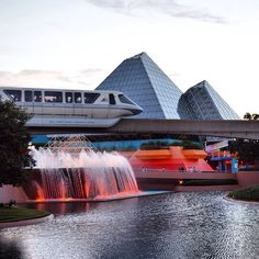 Monorail passing imagination pavilion in Epcot at Walt Disney World