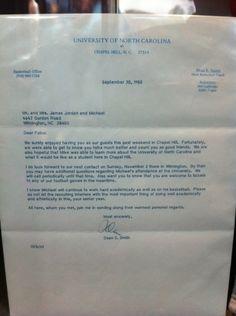Michael Jordan's recruiting letter from Dean Smith