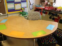 Laminated paper at guided reading table for instant whiteboard