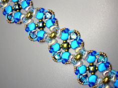 Beading Kit and Tutorial - Ginkoly Gold and Blue bracelet -Wibeduo ,Ginko, Samos, Zoliduo O Beads, Crystal Beads, Seed Beads, Unique Bracelets, Beaded Bracelets, Beaded Jewelry, Jewellery, Bead Kits, Beading Patterns