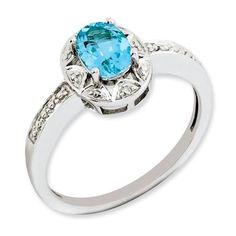 Diamond Rings : Sterling Silver Diamond & Blue Topaz December Birthstone Ring