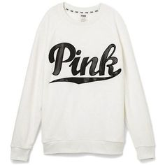 Victoria's Secret PINK Gym Crew Sweatshirt Small White Faux Leather ($70) ❤ liked on Polyvore featuring tops, hoodies, sweatshirts, victoria secret tops, victoria's secret, white top, crew neck top and faux leather sweatshirt