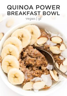 Kick start your day with these healthy Quinoa Power Breakfast Bowls! Kick start your day with these healthy Quinoa Power Breakfast Bowls! They're so easy to make, are packed with protein and will keep you energized. Breakfast And Brunch, Power Breakfast, Breakfast Bowls, Plant Based Breakfast, Breakfast Cookies, Healthy Sweet Snacks, Healthy Breakfast Recipes, Vegan Recipes Easy, Gourmet Recipes