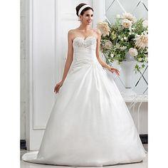 A-line Princess Sweetheart Chapel Train Criss Cross Satin Wedding Dress – GBP £ 97.39