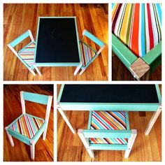 Toddler table makeover diy. Love the idea of a chalkboard top. & IKEA HACKS - yarn for Latt chair | Kiddos | Pinterest | Ikea hack ...