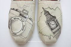 Travel Photography Custom Painted TOMS Shoes - Travel Apparel - Hand Painted Shoes - Wanderlust Adventure - Camera Sketch - Customized Shoes by ibleedheART on Etsy https://www.etsy.com/listing/177120612/travel-photography-custom-painted-toms