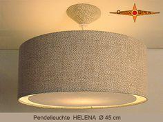 Leuchte HELENA Ø 45 cm. Pendellampe mit Lichtrand und dem passenden Baldachin dazu. Natürlich und elegant - die Leuchte aus naturbelassenem Leinen in edlem Landhausstil: