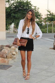 love the fringe skirt + sandals.