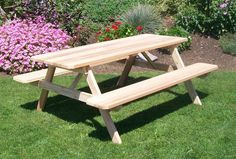 This A & L Furniture Western Red Cedar Picnic Table with Attached Benches is your ideal backyard gathering spot. Whether for a small get-together. Wooden Picnic Tables, Outdoor Tables, Wood Table, Outdoor Dining, Diy Picnic Table, Kids Picnic, Outdoor Lounge, Dining Table, Red Cedar Wood