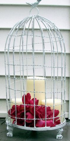 White Bird Cage Birdcage Metal Candleholder Vintage Look Rustic Wedding Candle Pedestal Shabby Chic #EasyPin