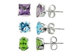 3 Pairs Blue Topaz, Amethyst, and Peridot Earrings Set