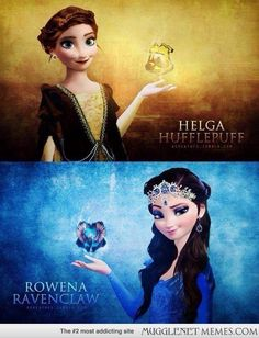 Frozen's Anna and Elsa as Helga Hufflepuff and Rowena Ravenclaw. Love this crossover! I can totally see it! o-o