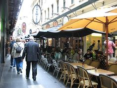 Degraves St. Lane way cafes. Melbourne has the most outdoor cafe seats IN THE WORLD. 15,000 at the last count. We sure do love our coffee.